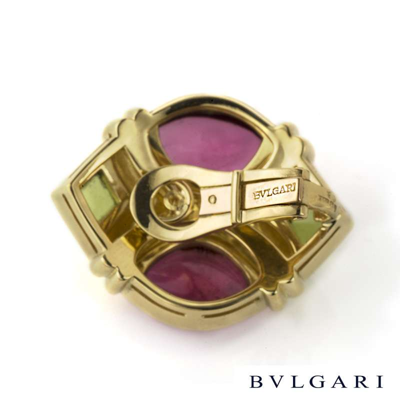 Bvlgari 18k Yellow Gold Pink and Green Tourmaline Earrings